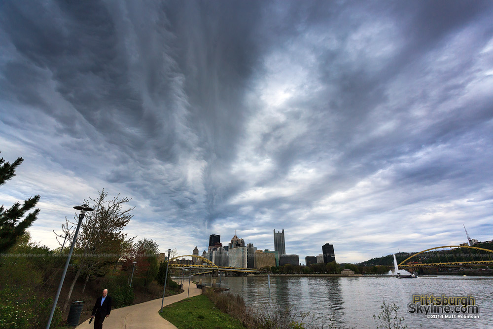 Turbulent clouds approach downtown Pittsburgh