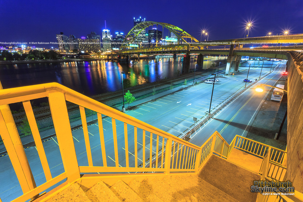 Stairs from Carson Street and the Pittsburgh Skyline from the South Side