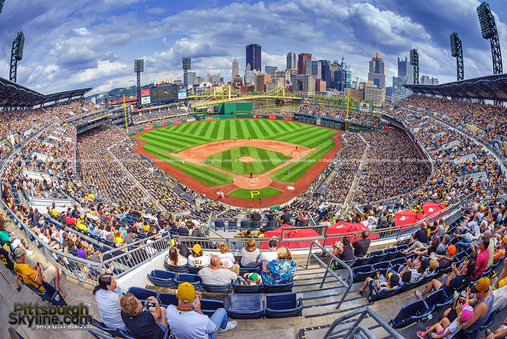 Fisheye of a baseball game at PNC Park