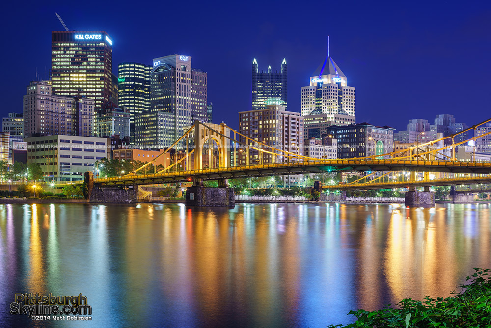 Rachel Carson Bridge with the Pittsburgh Skyline at night 2014
