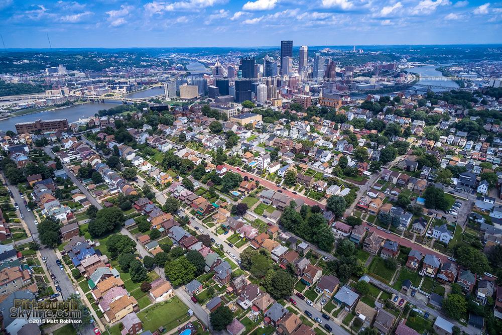 Pittsburgh aerial over the Mt. Washington neighborhood with the skyline