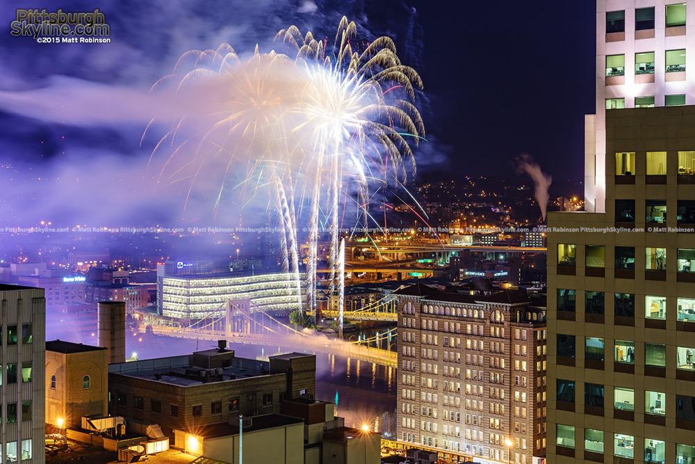 Andy Warhol Bridge Fireworks Pittsburgh
