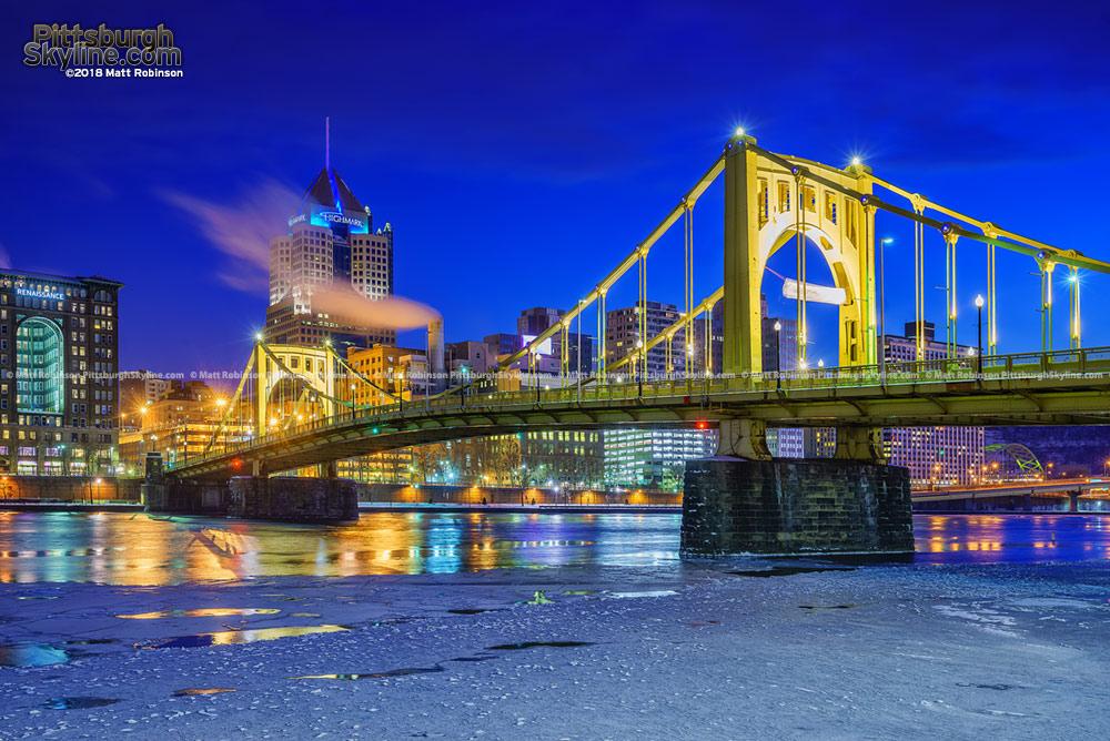 Roberto Clemente Bridge with Icy River