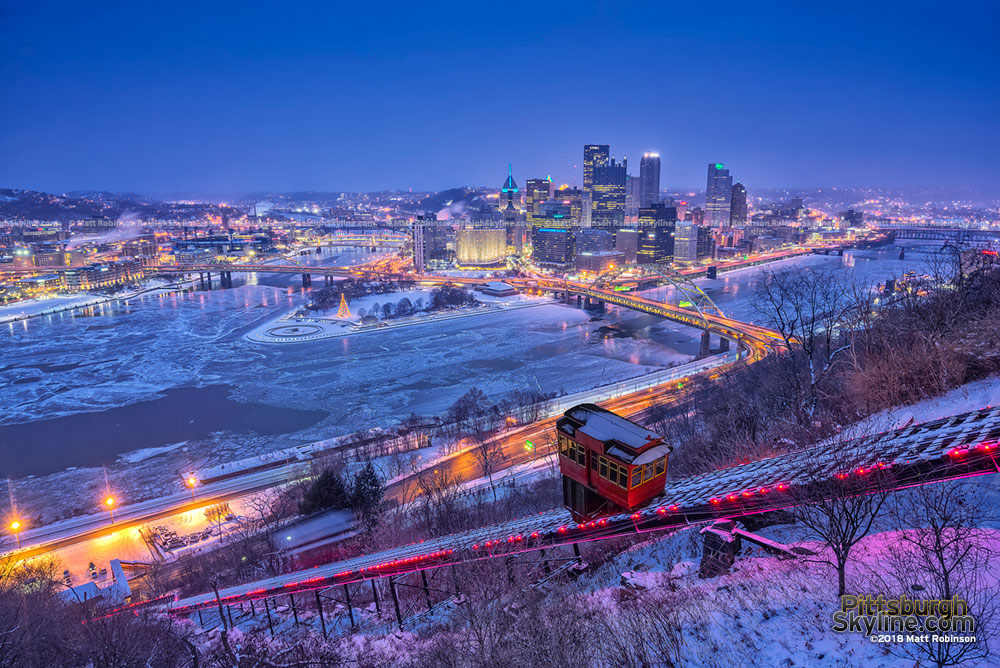 Frozen over Three Rivers with the Pittsburgh Skyline and Duquesne Incline