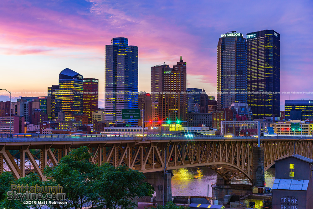 Pittsburgh and the Liberty Bridge at sunset
