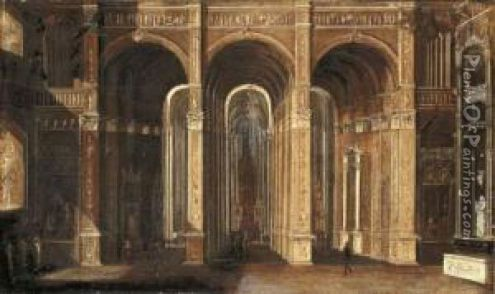 The Interior Of A Classical Church oil painting reproduction by     The Interior Of A Classical Church Oil Painting   Francois de Nome  Monsu   Desiderio