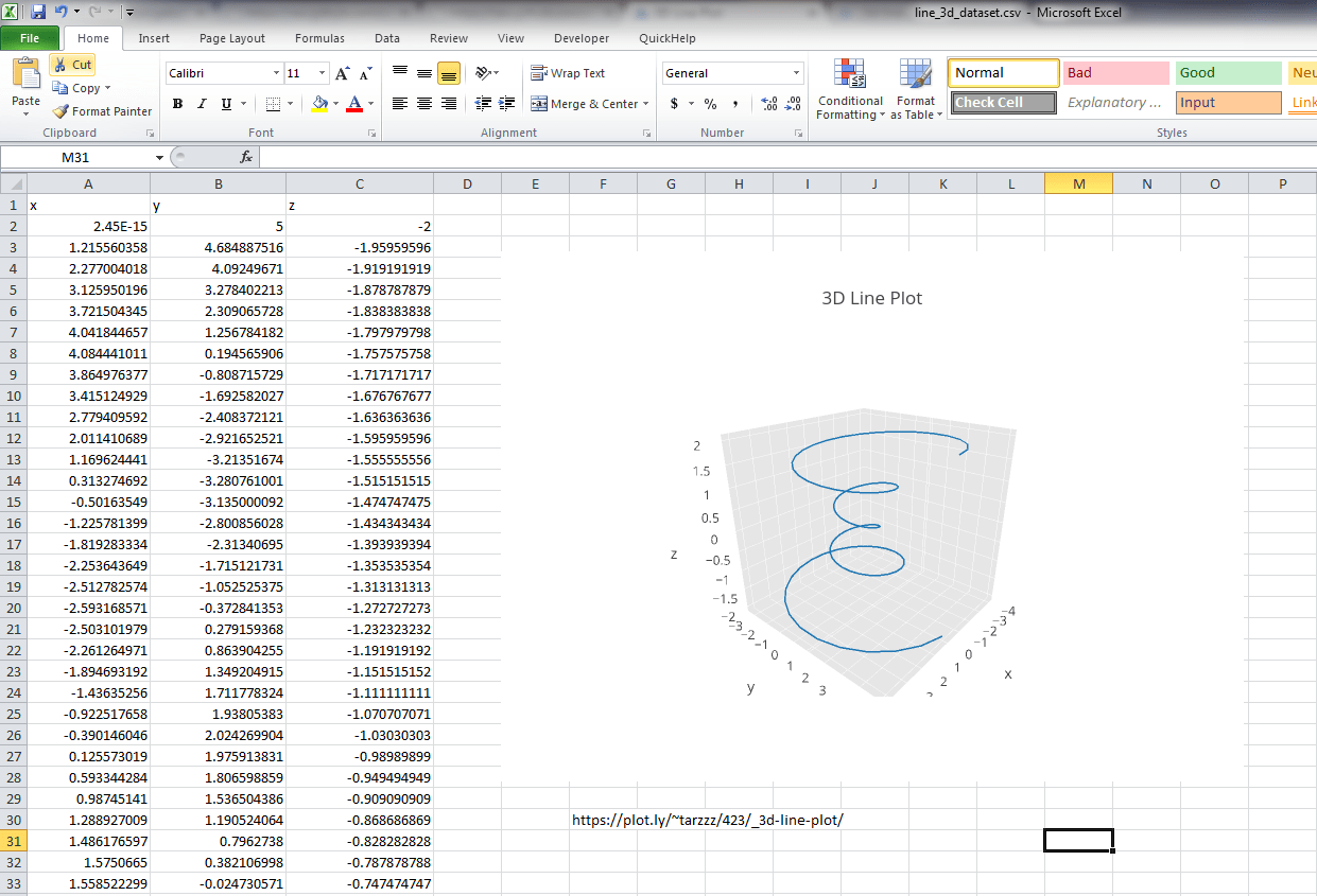 Make A 3d Line Plot Online With Plotly And Excel