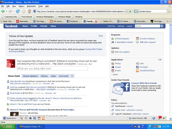 Screenshot of Facebook reverts TOS