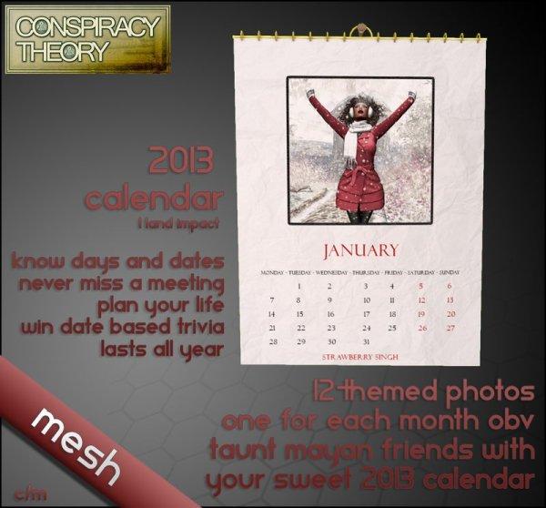 Conspiracy Theory 2013 Mesh Calendar