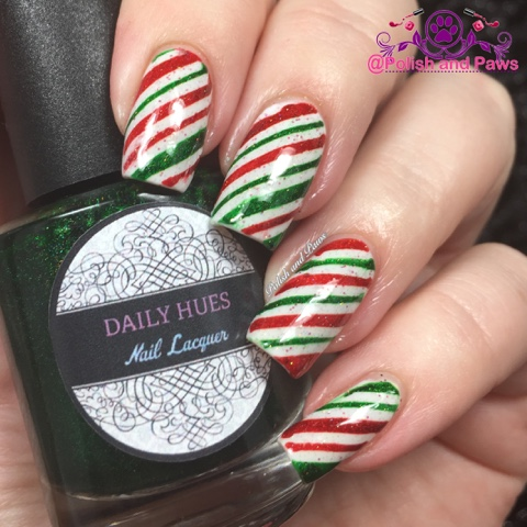 Nail Art Candy Cane Nails Polish And Paws