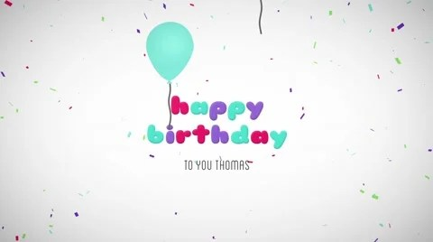 Happy Birthday Wishes Message Balloons Particles Logo Text