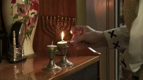 shabbat candles stock footage royalty