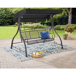 mainstay patio porch canopy jefferson 3 person steel swing
