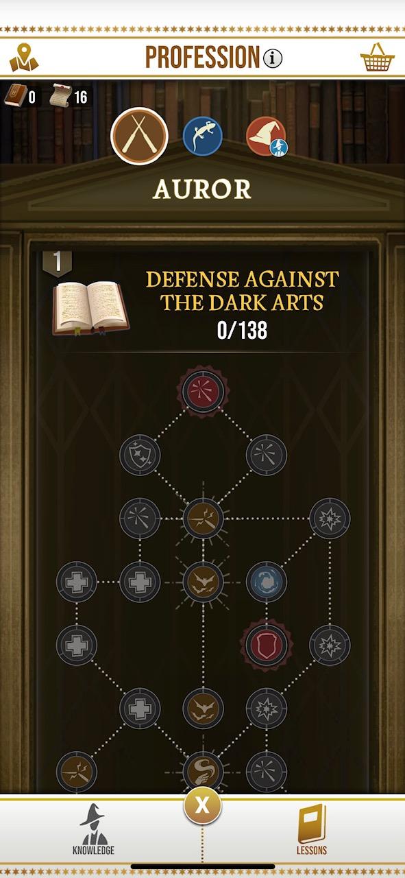 Screenshot of professions picker on Wizards Unite