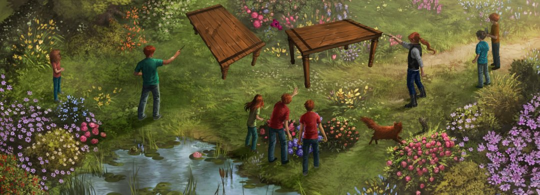 Bill and Charlie fight with tables in the Burrow's garden.