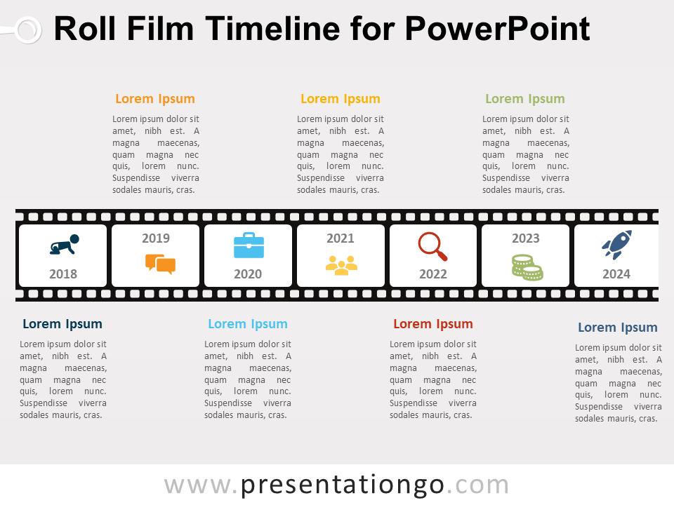 Roll Film Timeline For Powerpoint Presentationgo Com