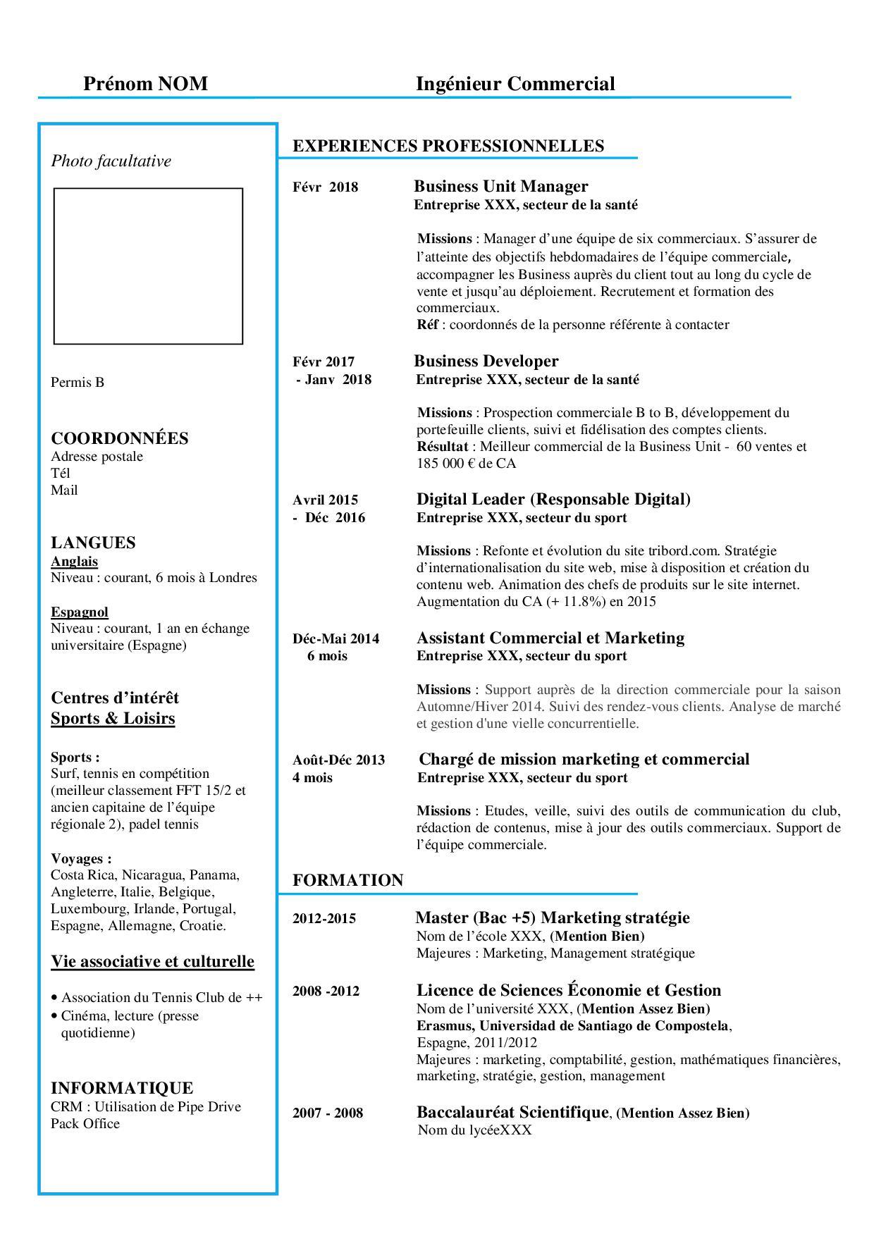 Cv De Commercial En 2021 Exemple Et Conseils Cadremploi