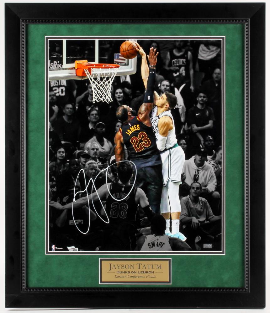 https www pristineauction com a2309415 jayson tatum signed boston celtics dunks on lebron 2325x2725 custom framed photo fanatics hologram new england picture coa