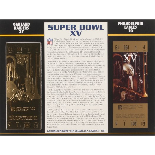 Super Bowl XV Commemorative Score Card with 23kt Gold ...