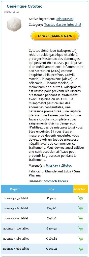 Acheter Cytotec Générique En France