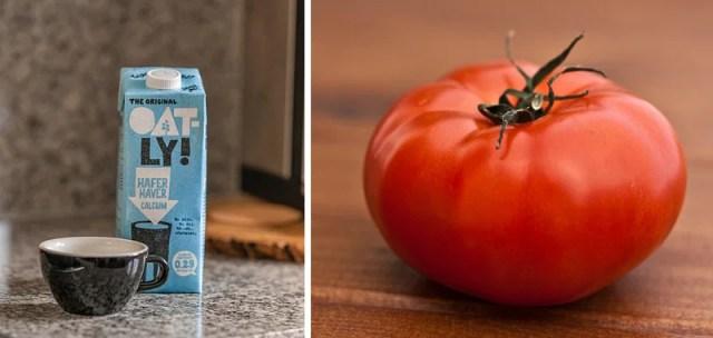 Oat milk and tomato juice removes oily skin