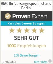 Erfahrungen & Bewertungen zu BIAC Ihr Vorsorgespezialist aus Berlin
