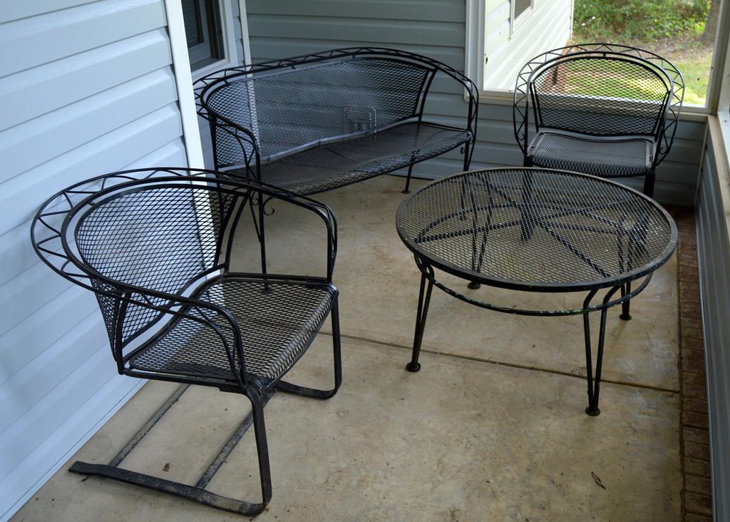 set of 4 vintage salterini iron outdoor