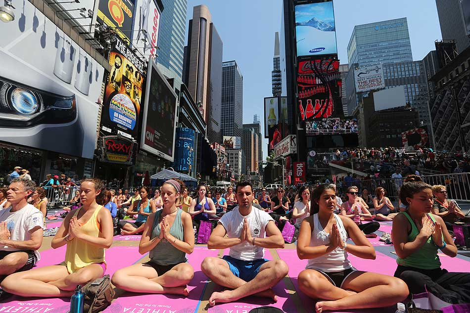 Yoga in New York's Times Square
