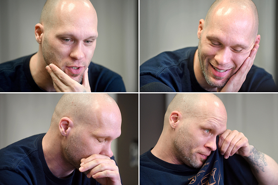 """""""I've done so many interviews, but man, this is still so tough to talk about sometimes,"""" says Michael Hansen at his tattoo shop."""