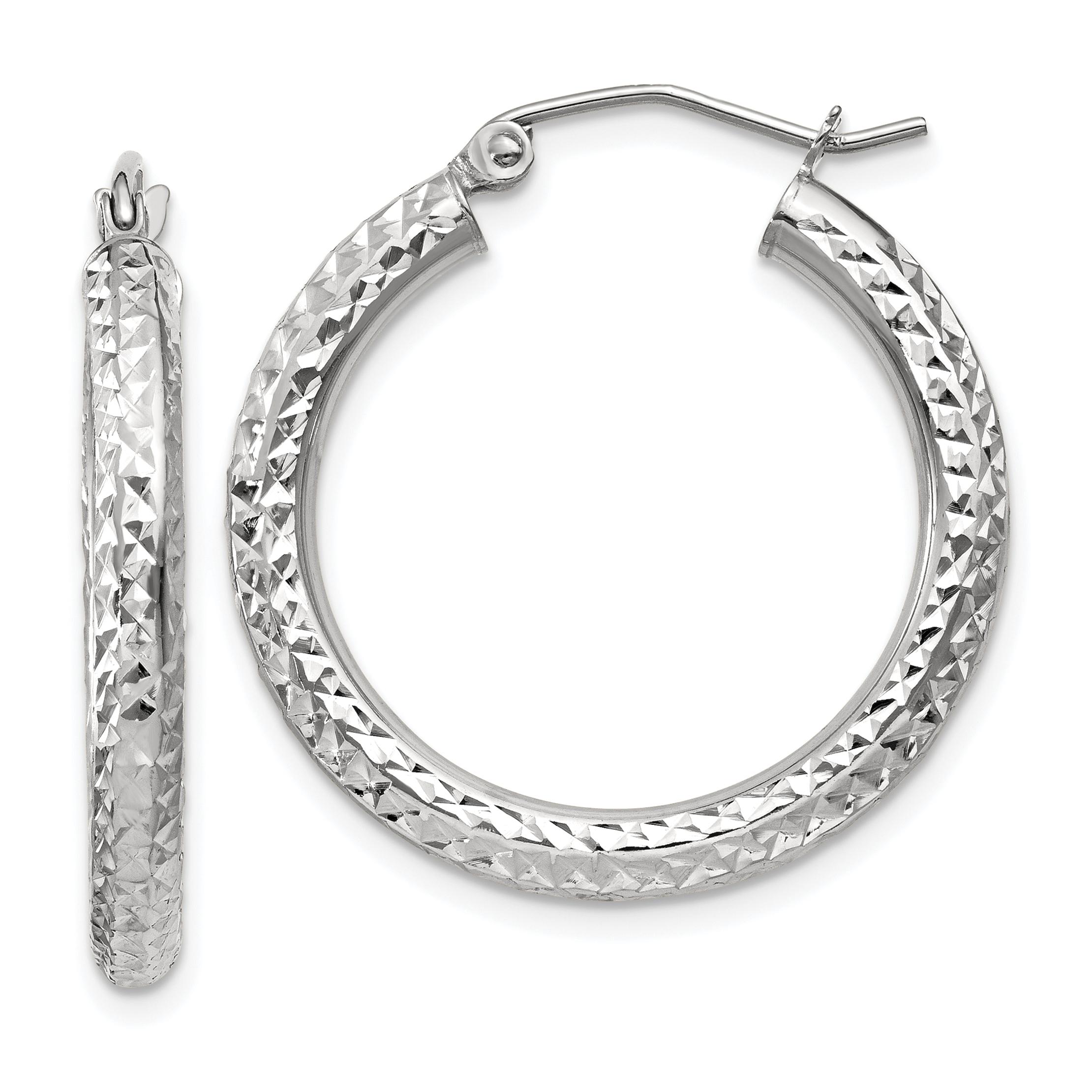 10k White Gold 3mm Round Hoop Earrings Ear Hoops Set Fine
