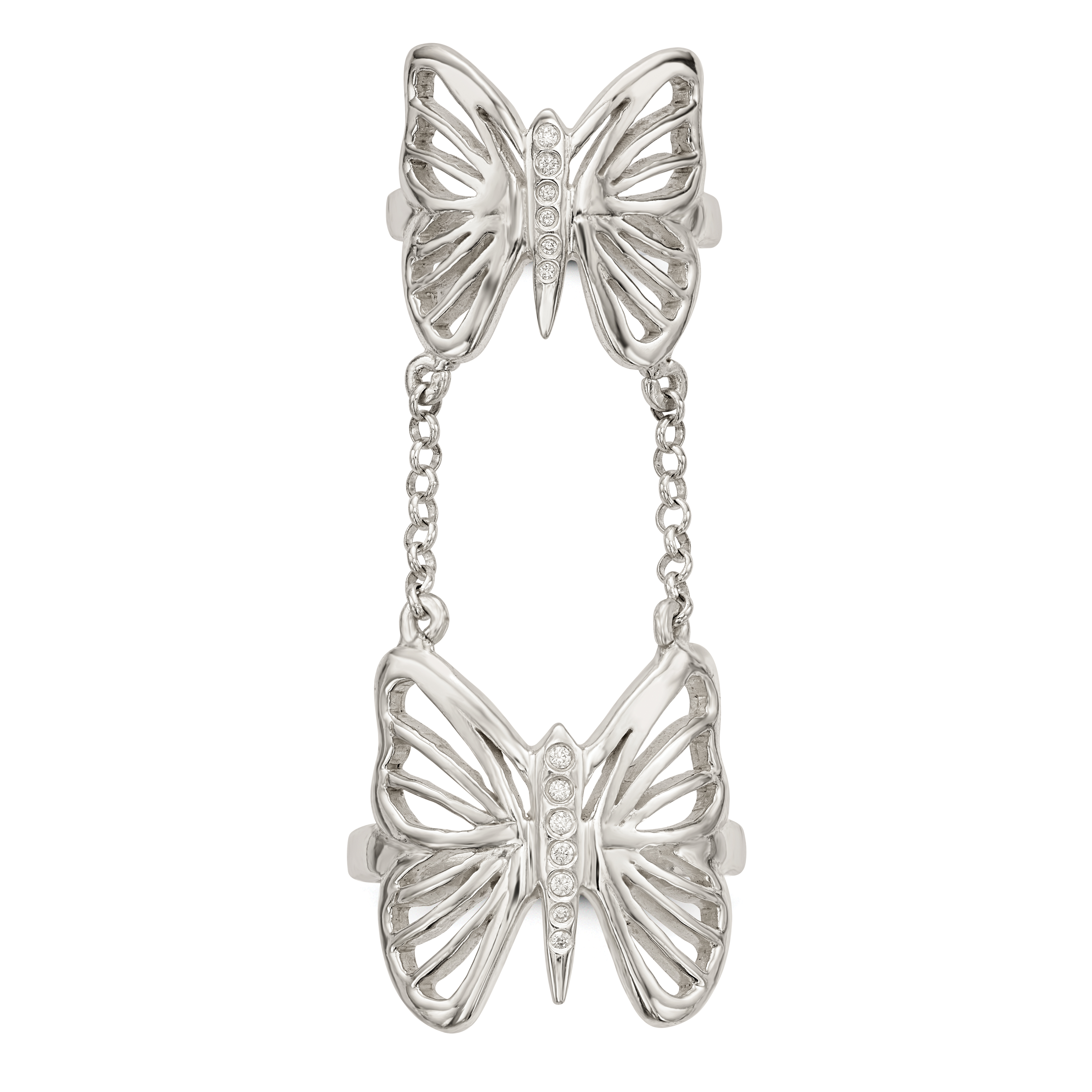 925 Sterling Silver Cubic Zirconia Cz Butterfly Double