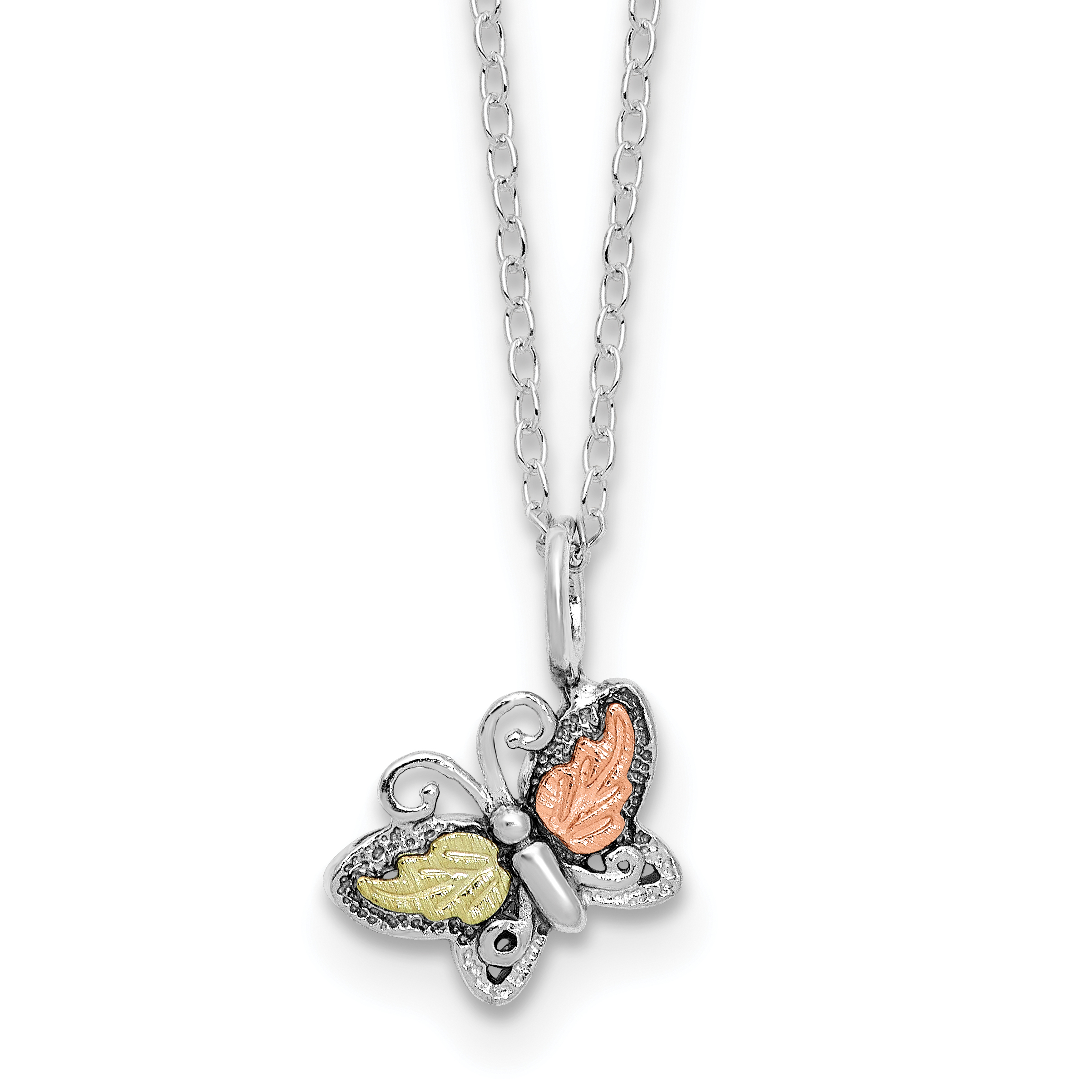 925 Sterling Silver 12k Butterfly Chain Necklace Pendant