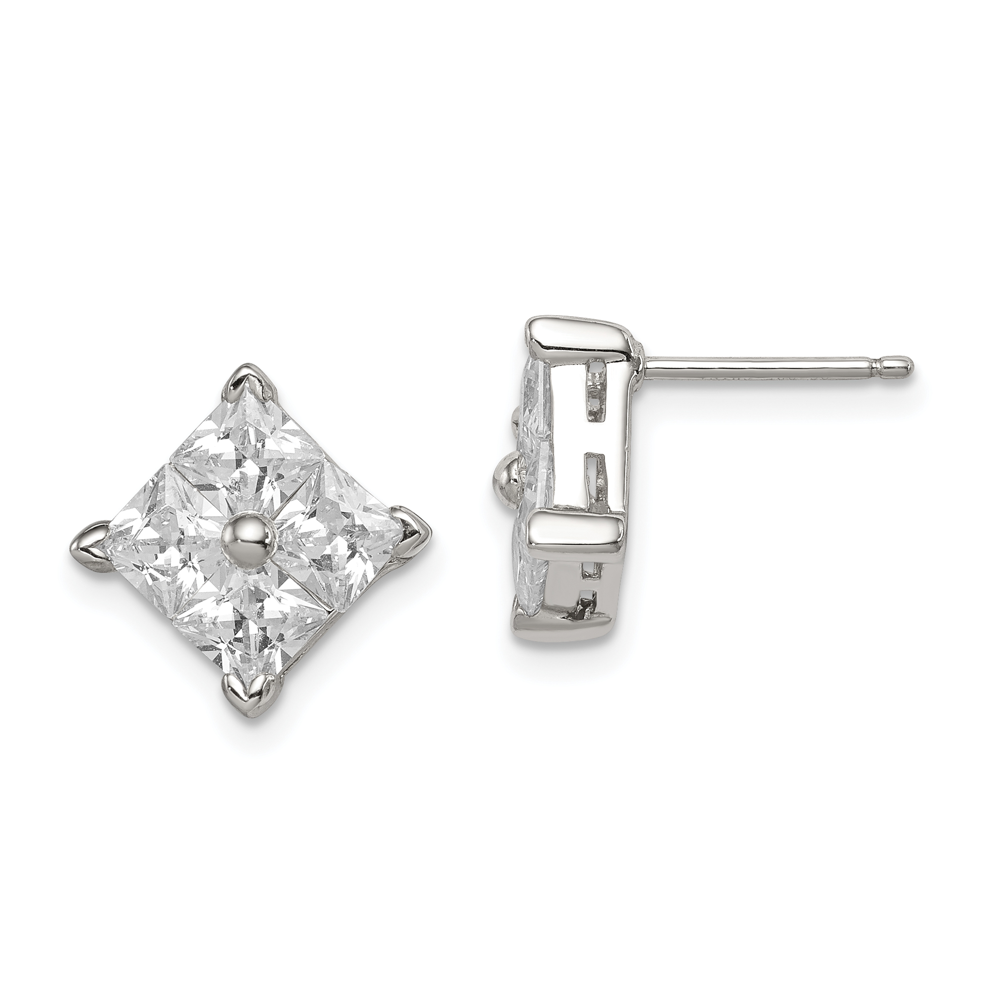 925 Sterling Silver Cubic Zirconia Cz Large Square Post