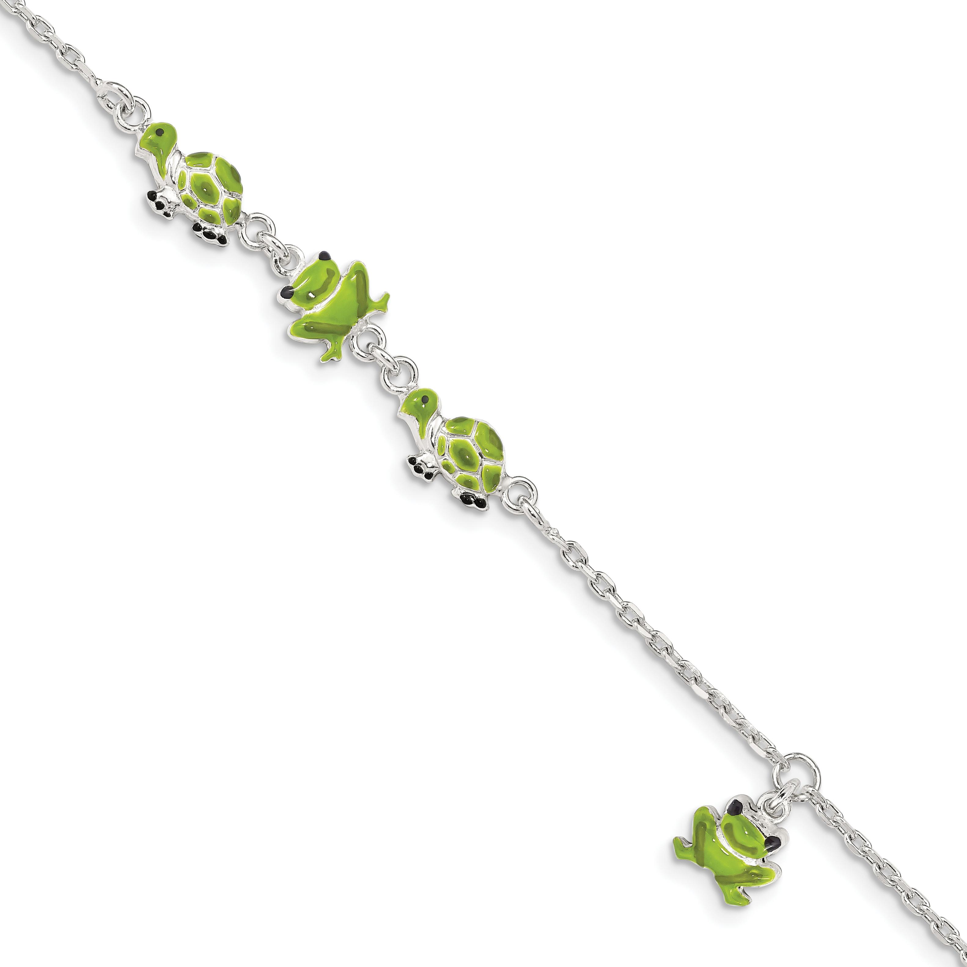 925 Sterling Silver Enamel Turtle Frog 6 Inch Bracelet