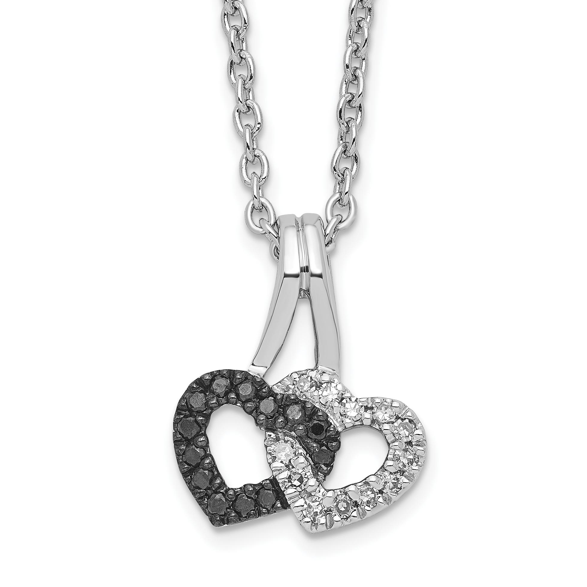 925 Sterling Silver Black White Diamond Double Heart