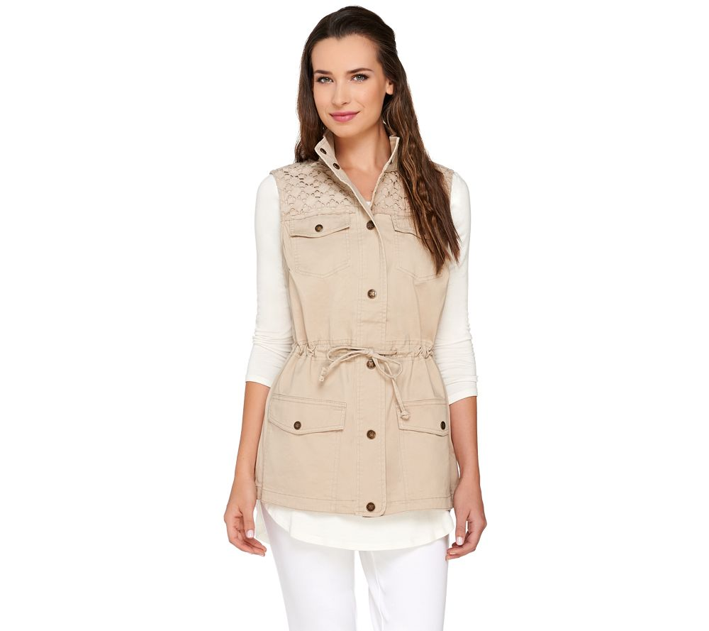 Liz Claiborne New York Snap Front Vest with Eyelet Details