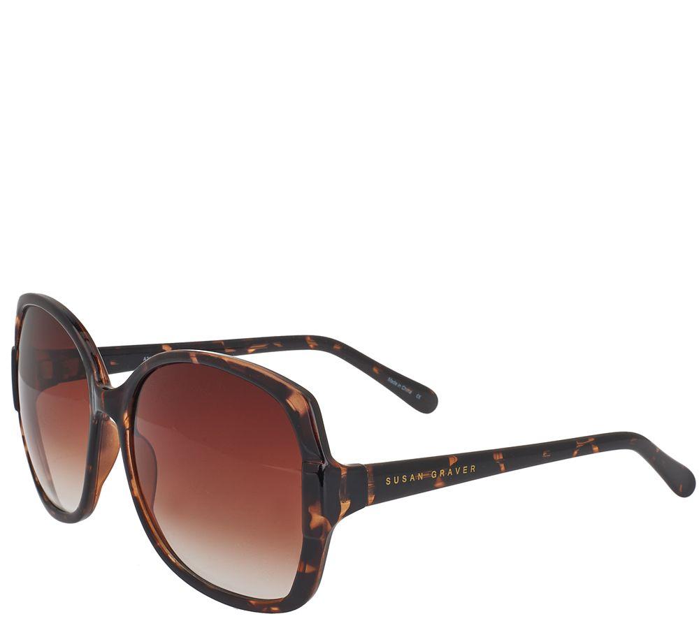 Susan Graver Oversized Square Sunglasses with Soft Case