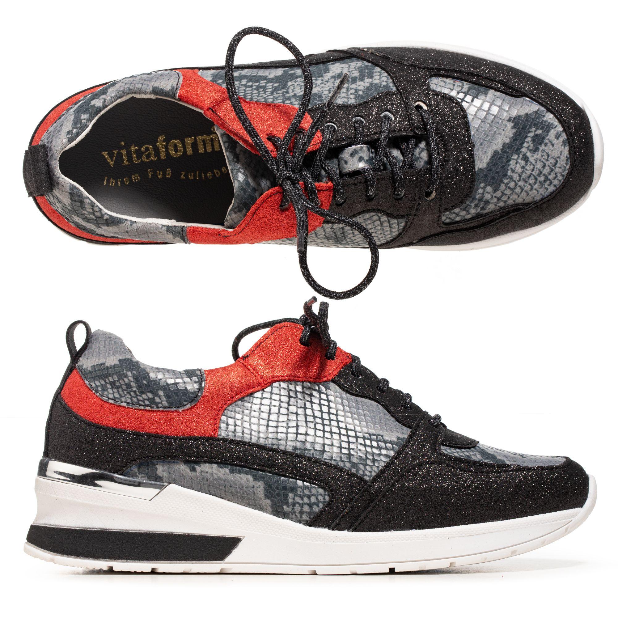 Vitaform Damen Sneaker Materialmix Glitzerdetails Keilsneakersohle Qvc De