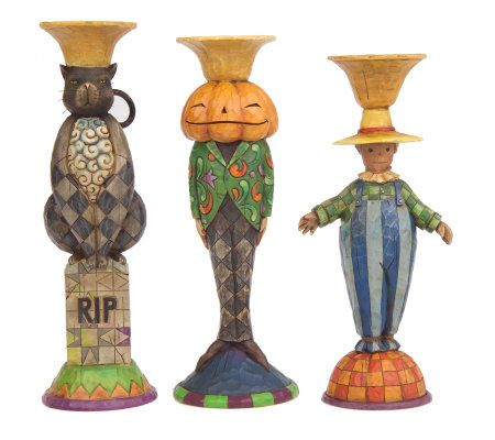 Jim Shore Heartwood Creek Set Of 3 Halloween Candle Holders