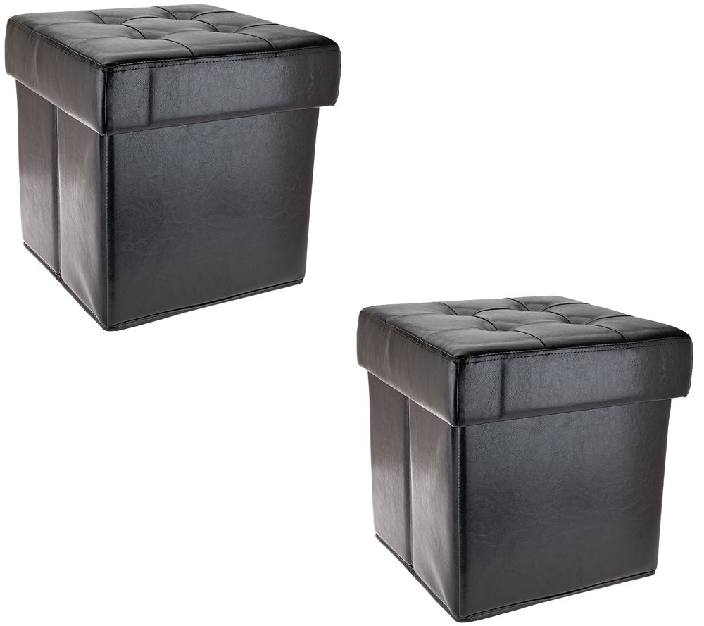 Set Of 2 Faux Leather Fold Up Storage Ottomans WTray By Valerie Page 1