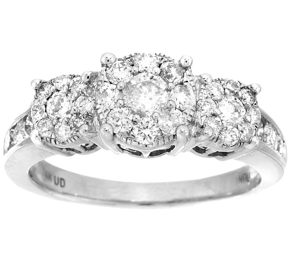 3 Stone Cluster Design Diamond Ring 14K 1cttw By