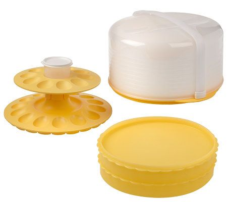 Tupperware Cake Taker With Pie And Deviled Egg Inserts