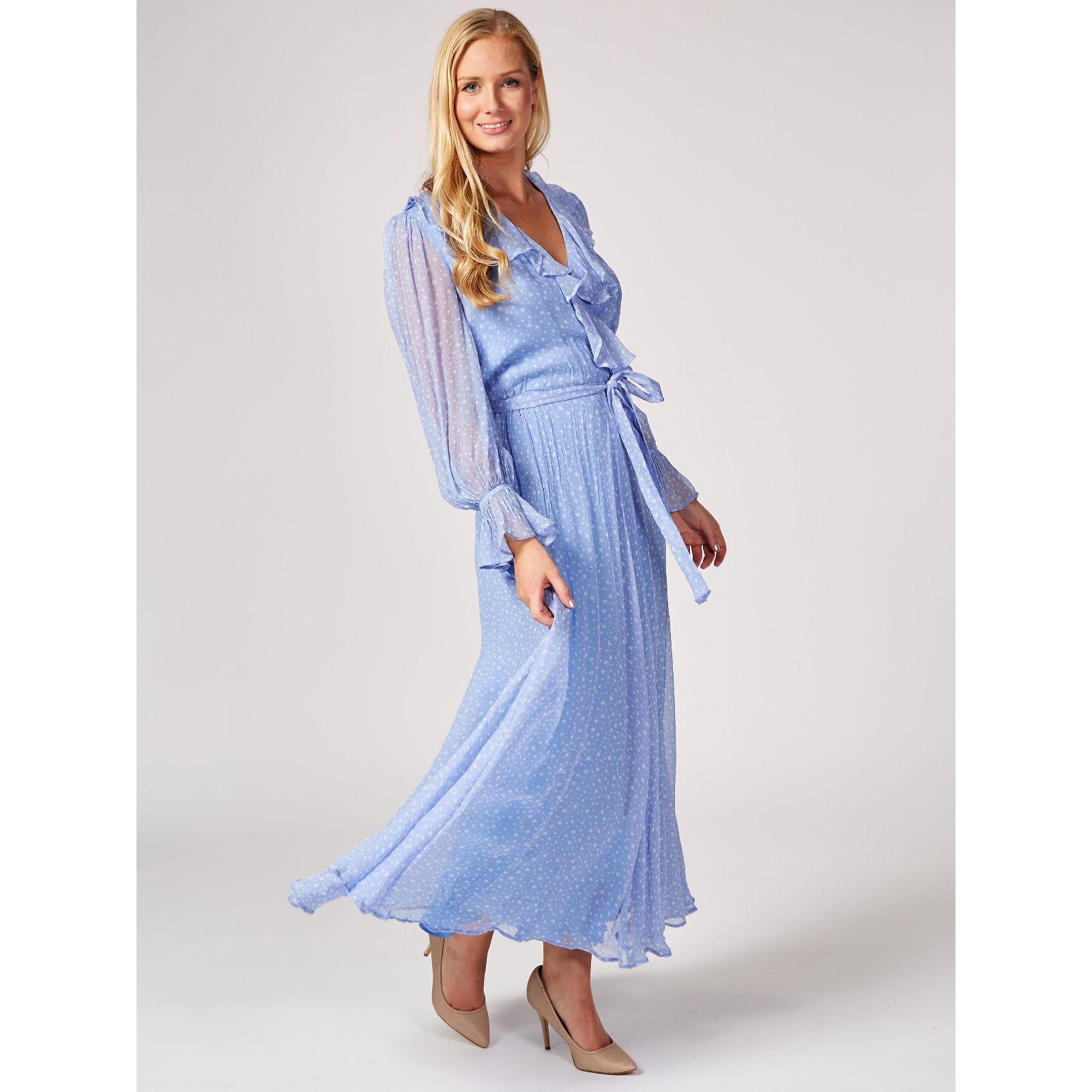 Ghost London Su Frilled Long Sleeve Wrap Dress QVC UK