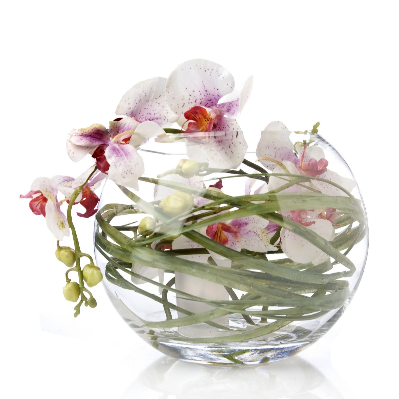 Peony Phalaenopsis Orchid Faux Flowers In A Glass Bowl QVC UK