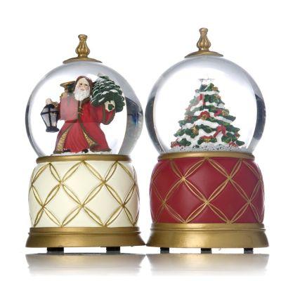 Mr Christmas Set Of 2 Musical Snow Globe Ornaments QVC UK