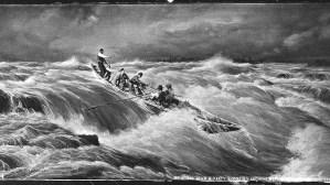 Des hommes descendent les rapides en canot