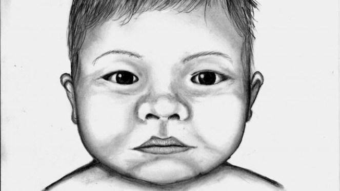 Une esquisse en noir et blanc du bébé, fait par le service de police. Il a des yeux et des cheveux foncés.