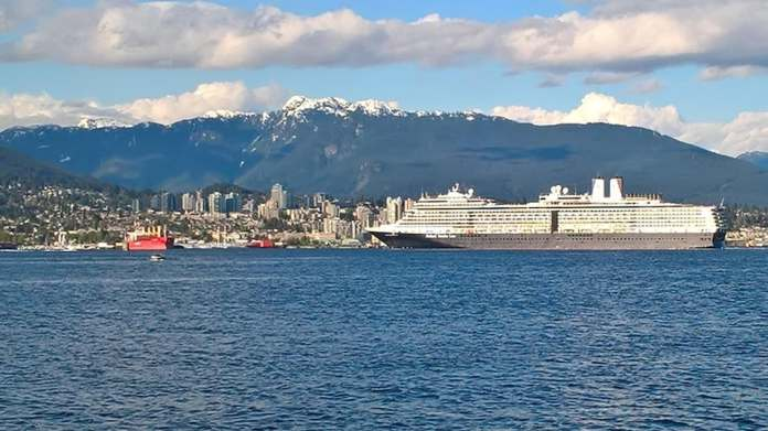 The mountains on the north shore are visible from downtown Vancouver.