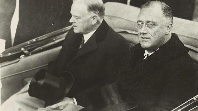 Franklin Delano Roosevelt et Herbert Hoover en voiture