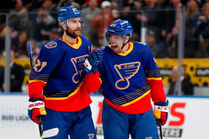Binnington makes 40 saves to help Blues beat Flames 5-0 | KMOX-AM